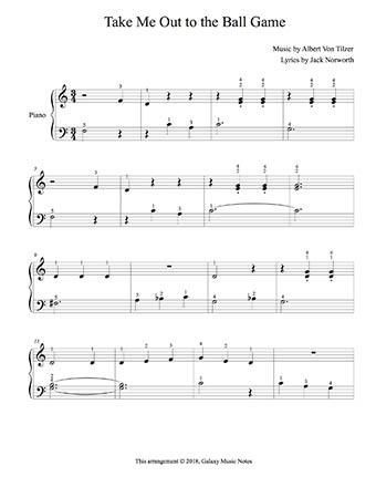 Take Me Out To The Ball Game Level 2 Piano Sheet Music Piano