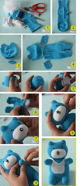 Como Fazer Um Ursinho De Pelucia Com Meia Tutorial Sock Animals