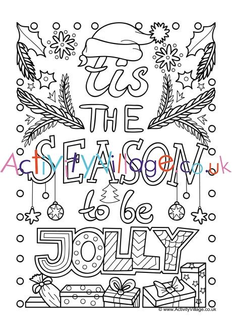 Tis the season to be jolly colouring page | Christmas ...