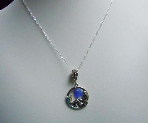 Mermaid Necklace - Sea Glass Necklace,  Blue Beach Glass Jewelry, Seaglass Jewelry
