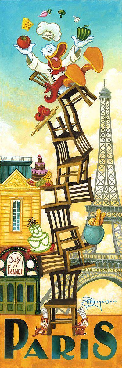 Donald Duck Paris Walt Disney Fine Art Tim Rogerson Signed Limited Edition of 195 on Canvas
