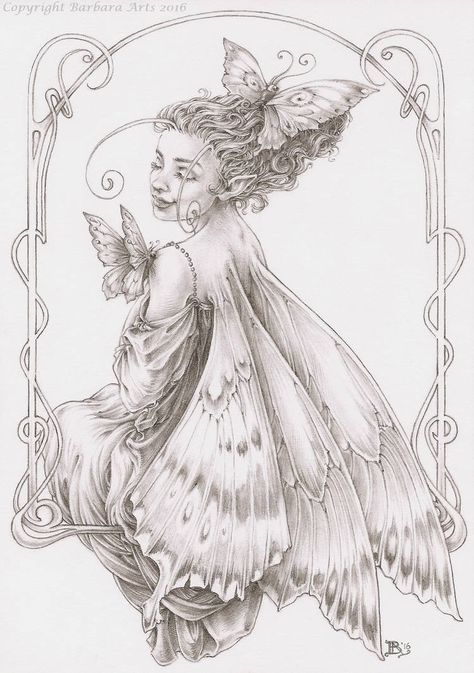 """Postcard size drawing for Postcrossing. The recipient loves butterflies, fairies and handmade postcards, so I made this """"Butterfly Fairy"""" illustration o. Butterfly Drawing, Butterfly Fairy, Fairy Drawings, Fairy Coloring Pages, Fairy Pictures, Fairy Art, Drawing Sketches, Character Art, Fantasy Art"""