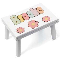 Surprising Personalized Daisy Puzzle Stool Kids Step Stools Bralicious Painted Fabric Chair Ideas Braliciousco