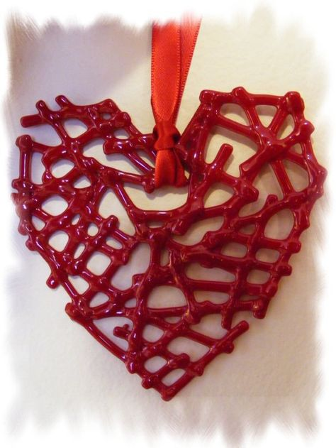 Fused Glass Lipstick Red Lacy Heart by ACollectiveJourney on Etsy, $10.95