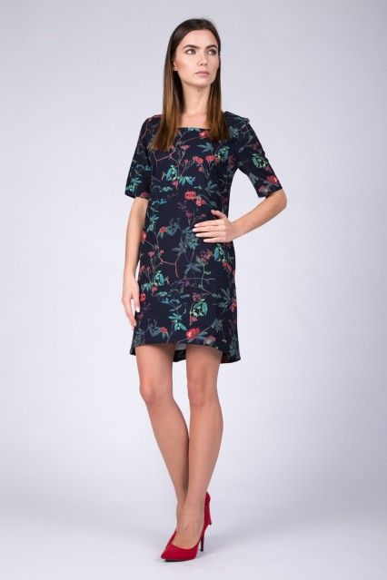 Granatowa Sukienka W Czerwone Kwiaty Sukienki Na Swieta Quiosque Pl Dresses Fashion Cold Shoulder Dress