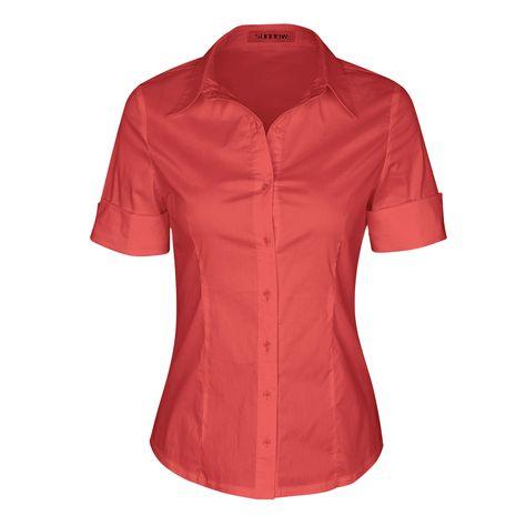 3819c44a86c8 SUNNOW® Modisch Damen Shirt Kurzarm Revers Schlank Hemd Arbeit V-Ausschnitt  mit Knöpfe Casual Einfarbig Oberteil Bluse Sommer  Amazon.de  Bekleidung