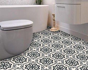 Vinyl Floor Tile Sticker Floor Decals Carreaux Ciment Encaustic Corona Tile Sticker Pack In Black In 2020 Vinyl Flooring Tile Floor Flooring