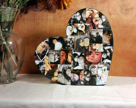 Custom Photo Collage, Heart Shape Photo Collage, Wood Letters, Personal Collage, Photo Collage, Personal Photo Collage, Custom Photo Letters by LybelleCreations on Etsy