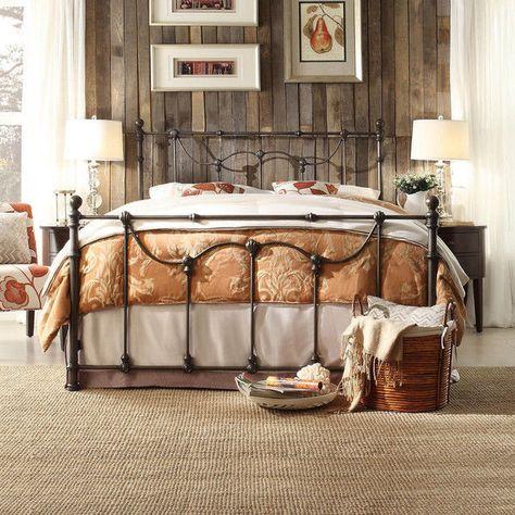 Full Size Antique Style Dark Bronze Victorian Metal Iron Bed Frame Beds Bedroom