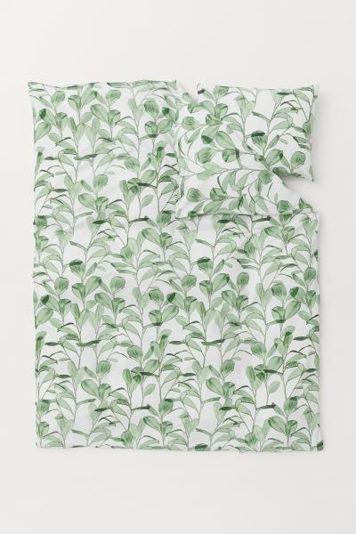 Bladmonstret Sengesaet Hvid Bladmonstret Home All H M Dk Duvet Cover Sets Duvet Covers Washed Linen Duvet Cover