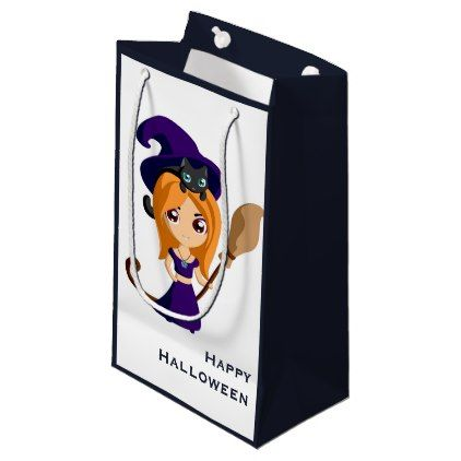 Cute Witch In Purple Hat Halloween Small Gift Bag Zazzle Com Small Gift Bags Purple Hats Small Gifts