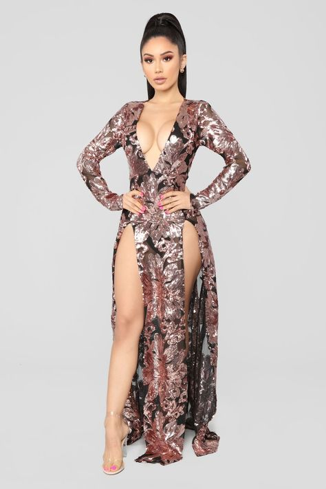 Sparkle Into The Night Maxi Dress - Rosegold