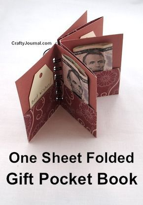 One Sheet Folded Gift Pocket Book - Crafty Journal. Add money and messages to po. One Sheet Folded Gift Pocket Book - Crafty Journal. Add money and messages to pockets. Gift Card Presentation, Creative Money Gifts, Folding Money, Money Origami, Origami Wallet, Heart Origami, Dollar Origami, Money Cards, Gift Cards