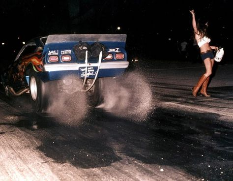 """Drag racing legends """"Jungle Pam"""" Hardy and """"Jungle Jim"""" Liberman doing what they do best."""