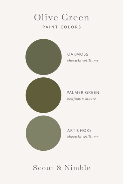 Green paint colors + olive green paint colors + green in home design + oak moss by sherwin williams + palmer green by benjamin moore + artichoke by sherwin williams Green Wall Color, Green Paint Colors, Green Colour Palette, Paint Colors For Home, House Colors, Green Room Colors, Cabin Paint Colors, Wall Colors, Ceiling Paint Colors