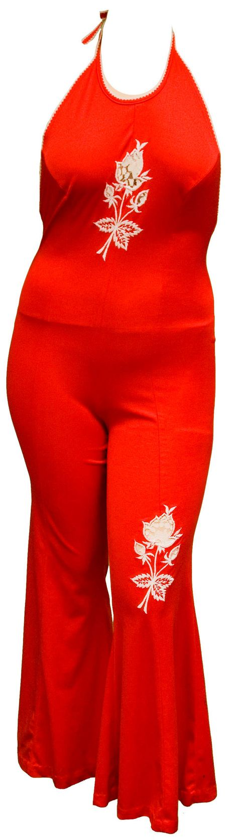 1970s Large Romper Onesie Halter Pant Suit Red by TopangaHiddenT