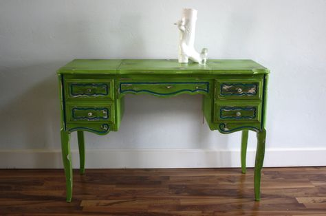 Green and Teal Vintage French Provincial Desk and Vanity with Mirror. $250.00, via Etsy.