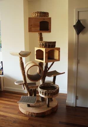 We Re In Awe Of This Gorgeous Custom Handmade Cat Tree Cat Tree Cat Tree Plans Modern Cat Tree