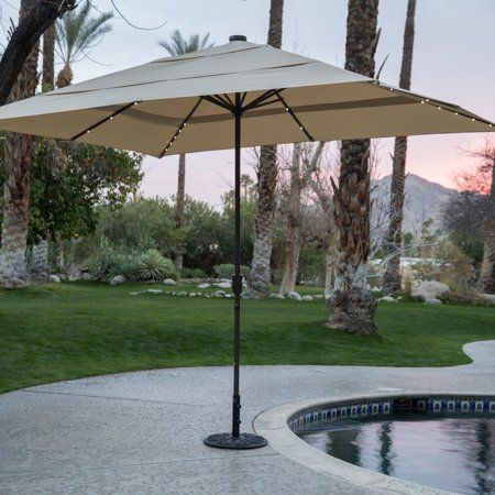 Coral Coast 8 X 11 Ft Rectangular Aluminum Market Solar Lighted Patio Umbrella Walmart Com In 2020 Offset Patio Umbrella Patio Umbrella Patio Umbrella Lights