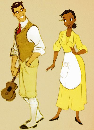 Princess and the Frog - Naveen & Tiana <3 I love this couple because Tiana wasn't looking for love and he came into her life unexpectedly!