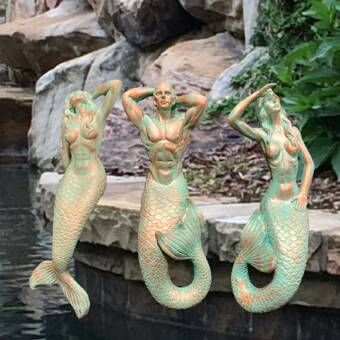 Halleck 3 Piece Mermaids And Triton Beach Shelf Sitters Statue Set In 2020 Mermaid Statues Sitter Fairy Statues