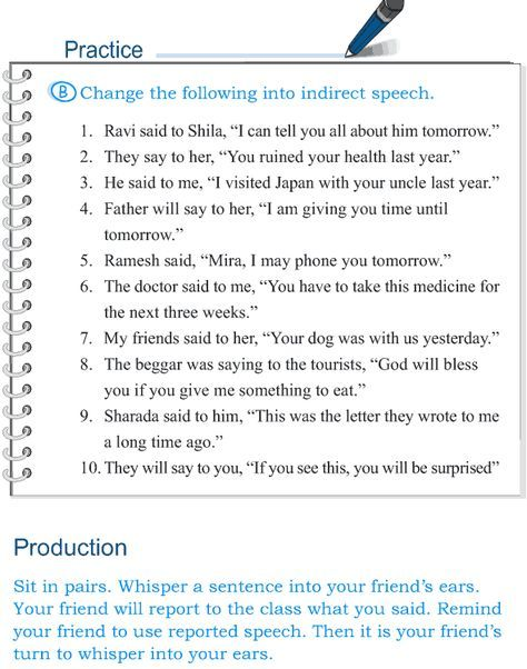 Grade 5 Grammar Lesson 14 Speech Direct And Indirect 7 Grammar Worksheets Grammar Lessons Direct And Indirect Speech