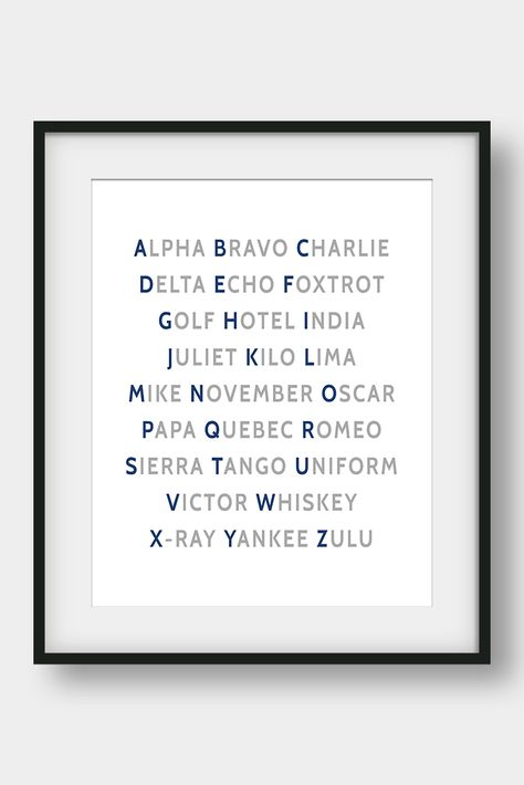 Nato Phonetic Alphabet Aviation Decor Pilot Gift Boys Room