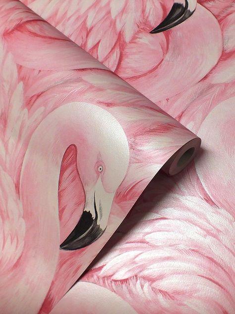 BIRDS PINK FLAMINGO QUALITY FEATURE DESIGNER WALLPAPER RASCH 277890