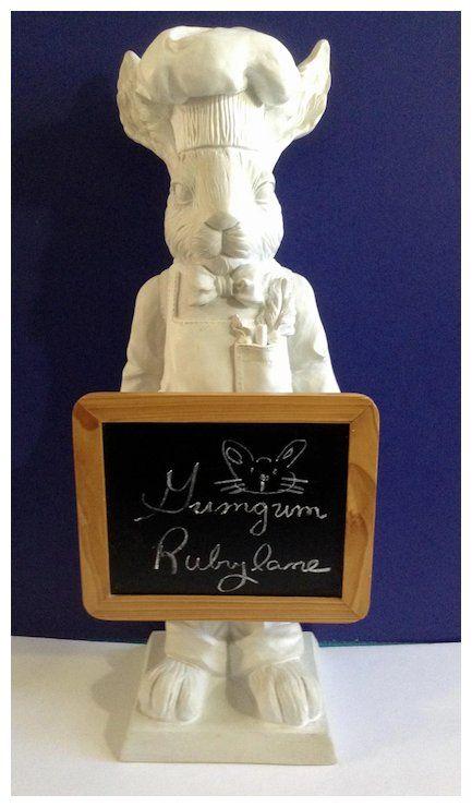 Fleur De Lis Bunny Rabbit Chef Statue