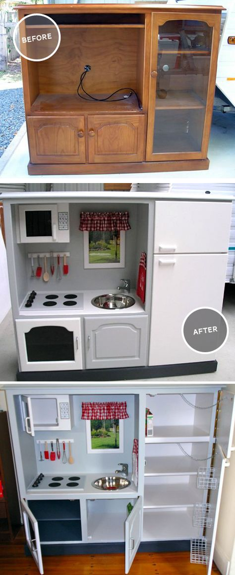 Gender Neutral DIY play kitchen made from an up-cycled entertainment system. I love that we could make it look just like Mom and Dad's and that it's not covered in pink/frills. I'd add the silver easy bake oven and a kids size chore set!