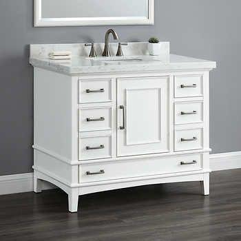Parker 42 Single Sink Vanity Bathroom Furniture White Vanity