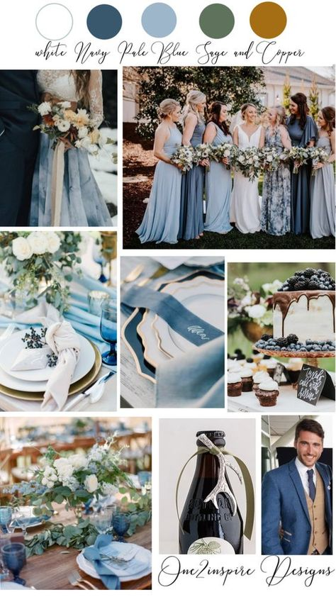 Lots of blue Wedding ideas and inspiration. Navy Blue, Dusty Blue, White, Sage Green and Copper color palette. #blueweddingideas, #blueweddingcolorpalette, #blueweddingcolorschemes, #blueweddinginspiration, #dustybluewedding, #navybluewedding
