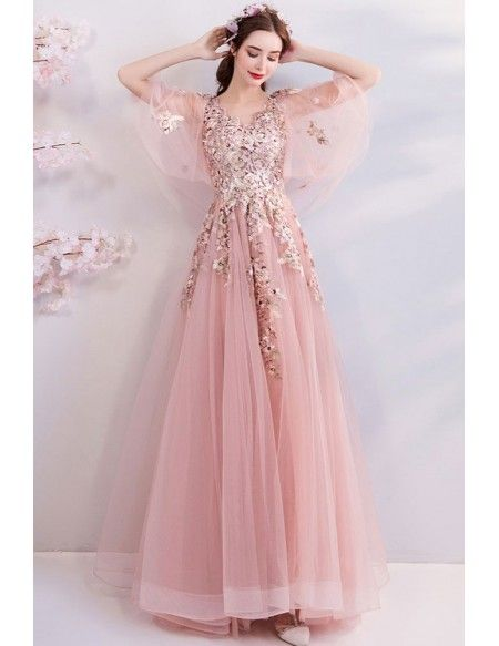 48f113ae164 Buy Fairy Blush Pink Tulle Long Prom Dress With Butterfly Sleeves  Embroidery at wholesale price online. Free shipping and pro custom service  since 2009.