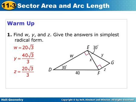 Warm Up 1 Find W Y And Z Give The Answers In Simplest Radical Form Geometry High School Lesson Warmup