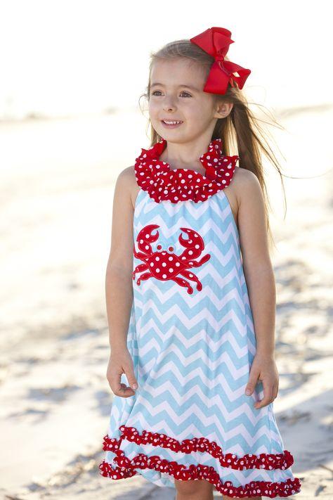 girls red crab chevron dress