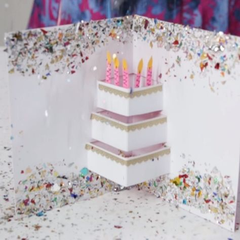 Show someone how much you care with a festive handmade birthday card. It takes no time at all to dress up a plain paper card with some serious sparkle. #diyideas #diycrafts #bhg