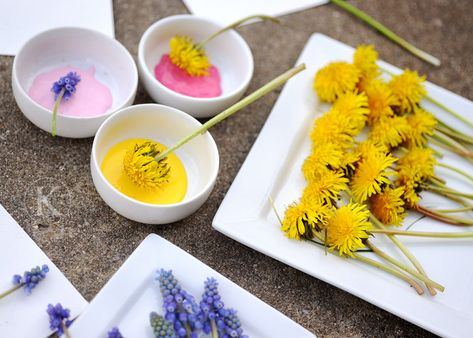 painting with flowers - so cute - doing this next week.