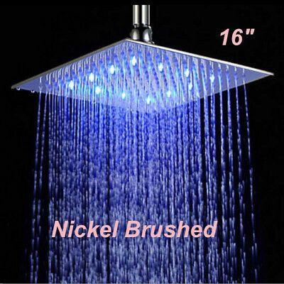 Advertisement 16 Inch Led Rain Shower Head Brushed Nickel Shower