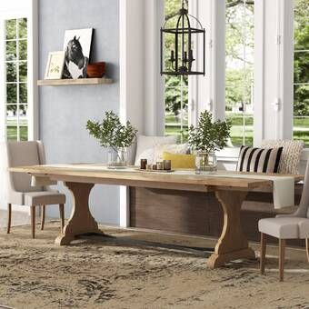 Allister Solid Wood Dining Table Extendable Dining Table Dining Table Double Pedestal Dining Table