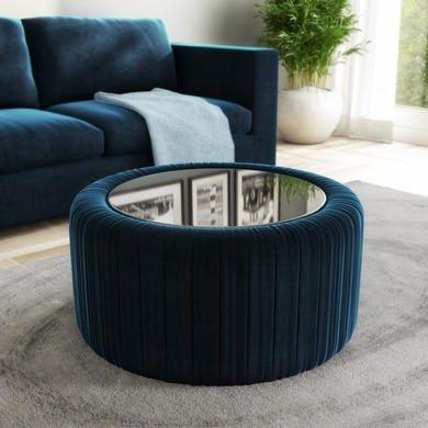 Clio Blue Velvet Ottoman Storage Pouffe With Glass Top Coffee Table Pouffe Storage Ottoman Ottoman