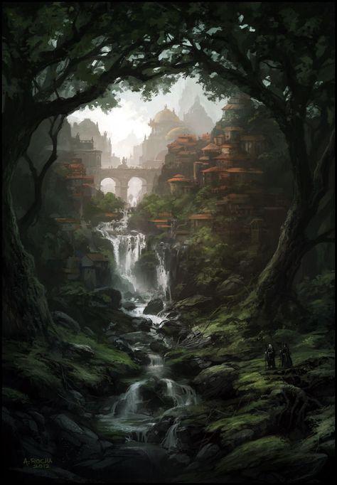 City forest and waterfall fantasy landscape illustration art #digitalart #digitalpainting