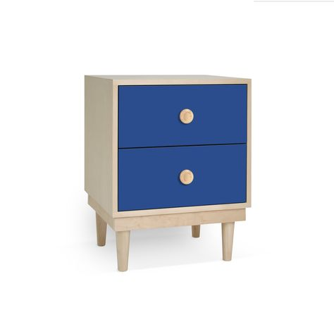A simple elegant design, a modern take on a '50s inspired shape. Our Lukka nightstand has two drawers for plenty of storage space to hold your bedroom essentials. The solid walnut or maple base and legs add to the durability of this piece ensuring it can stand up to the wear and tear of kids play. Each component is custom made, expertly hand crafted, sanded and hand painted with our premium lacquers for a beautiful finish. Drawers include soft glide hardware for extra safety. Eco-Friendly: Made