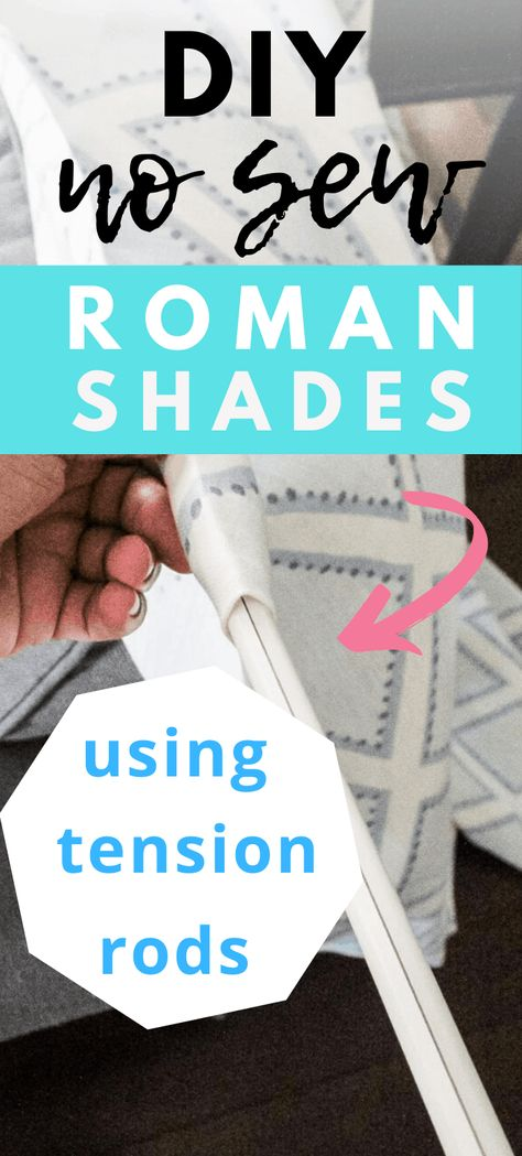 DIY No Sew Roman Shades. How to make no sew faux roman shades using just tension rods. Such an easy way to update your windows on a budget Diy Window Shades, Porch Shades, Roman Shades Kitchen, Faux Roman Shades, Porch Curtains, Roman Curtains, Bedroom Curtains, Roman Blinds, Bedroom Decor