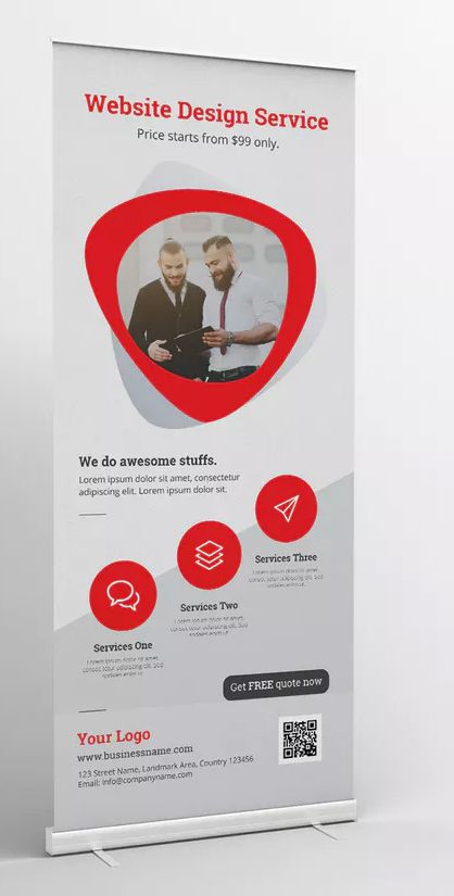 Roll Up Banner By Graphix Shiv On Envato Elements Rollup Banner Design Roller Banner Design Banner Template