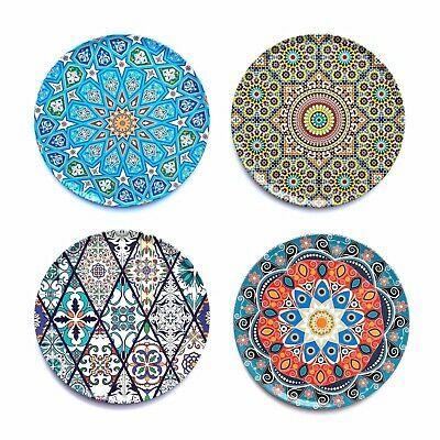 SET OF 4 Ottoman Mandala Moroccan Turkish Tin Cork Coaster Coffee Birthday Gift