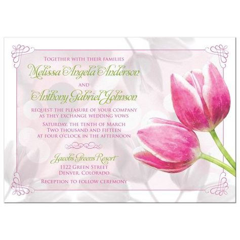 Pink and green tulip flower spring wedding invitation. The colors are magenta pink, spring green, and white. This elegant and pretty floral design features two pink tulips and a scroll border.