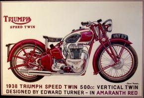 Triumph 500cc Speed Twin Motorcycle Advertisement Triumph Motorcycles Vintage Motorcycle Posters Triumph Motorbikes
