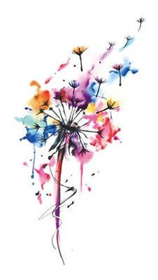 Waterproof Temporary Fake Tattoo Stickers Watercolor Pink Blue Dandelion