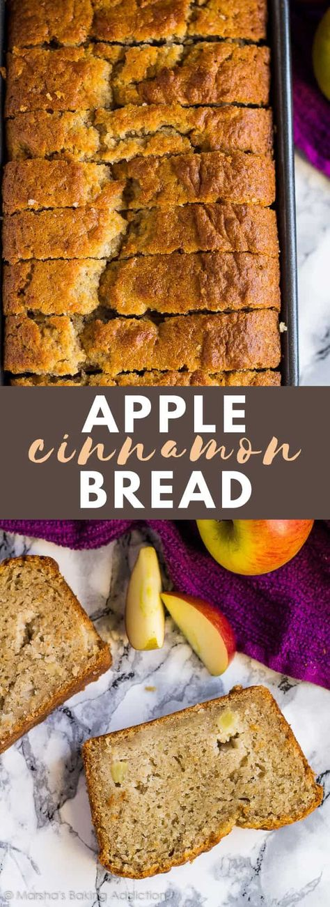 Apple Cinnamon Bread- Incredibly moist and delicious cinnamon-spiced bread studded with juicy apple chunks! #apple #cinnamon #breadrecipes #cakerecipes