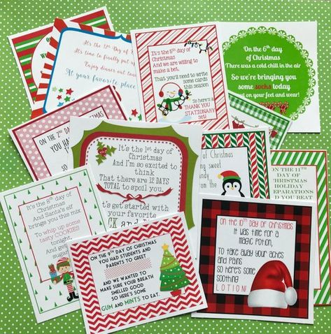 12 Days of Christmas Printable Tags Labels for Teachers Friends Family Classroom Gifts School by Mar